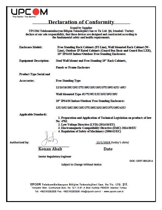 CE Certificate - 19_ Rack Cabinet