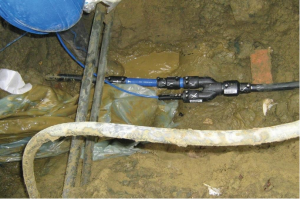 Drinking water pipe connection, in an installation in Germany